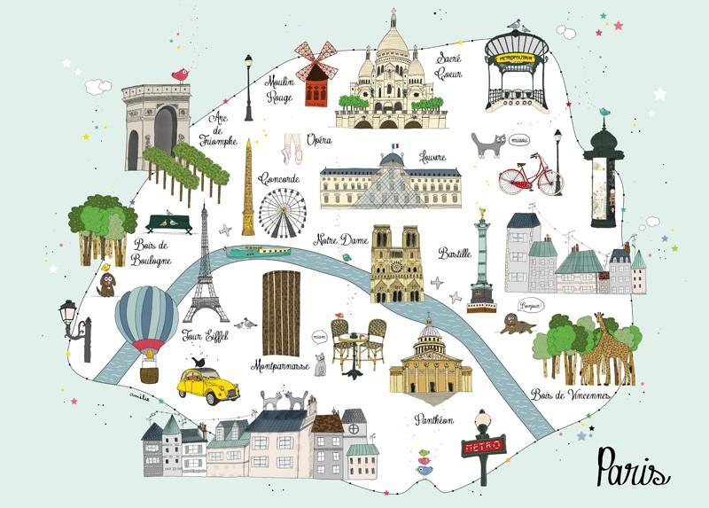 Mappa di Parigi con bambini