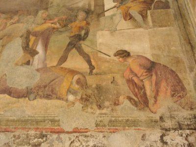 affresco con San Gennaro all'uscita dalle catacombe