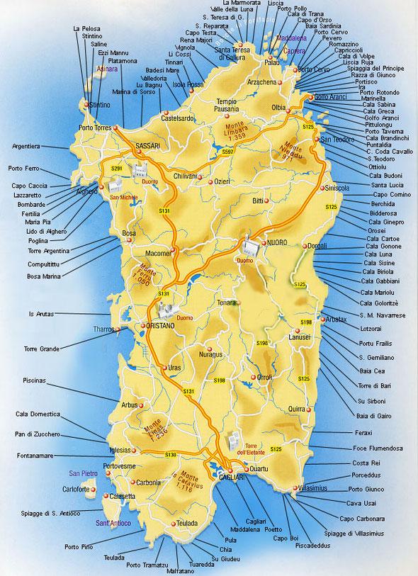 Cartina Campeggi Sardegna.Cartina Della Sardegna Famigliainviaggio It
