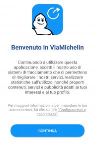 La schermata iniziale di ViaMichelin